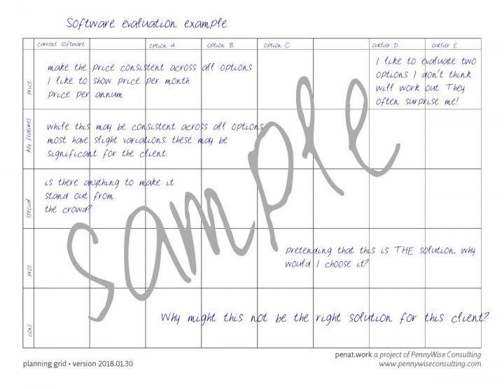 sample software evaluation grid