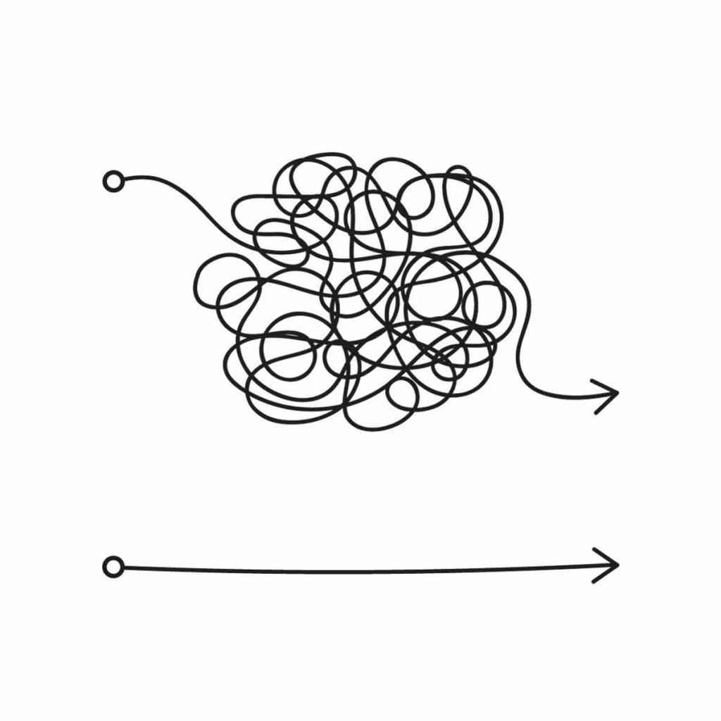 doodle showing complex scribbles for an arrow direction; simple straight line arrow