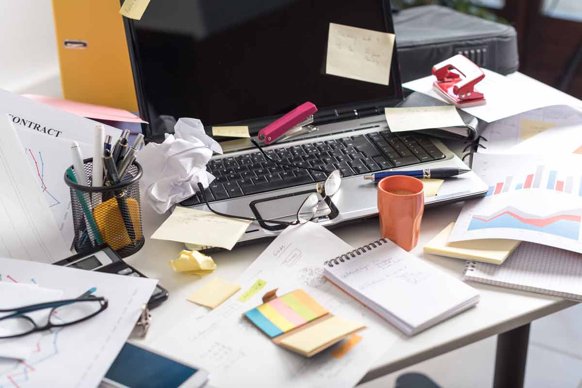 stock photo image of a messy desk