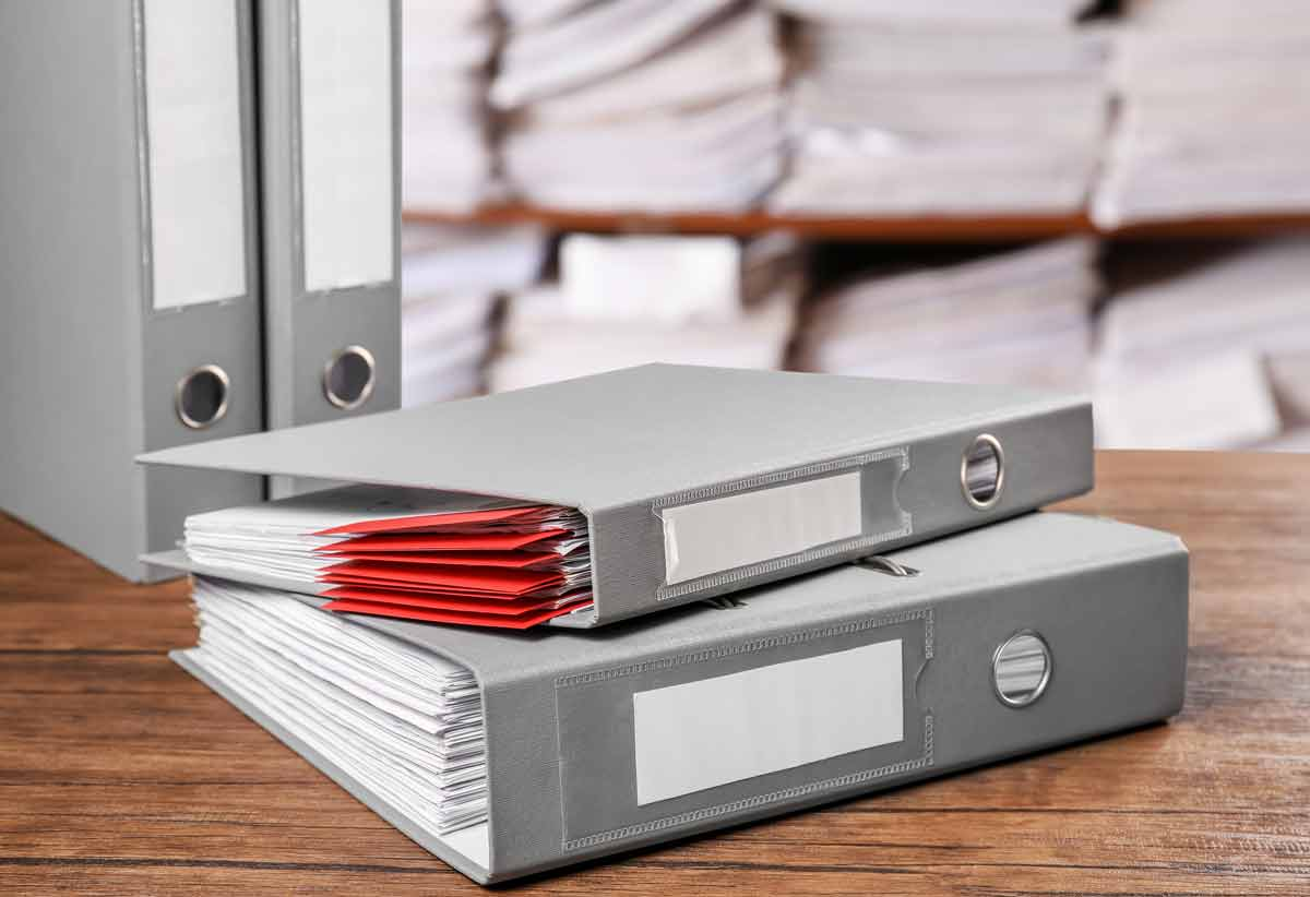binders of documents in archive