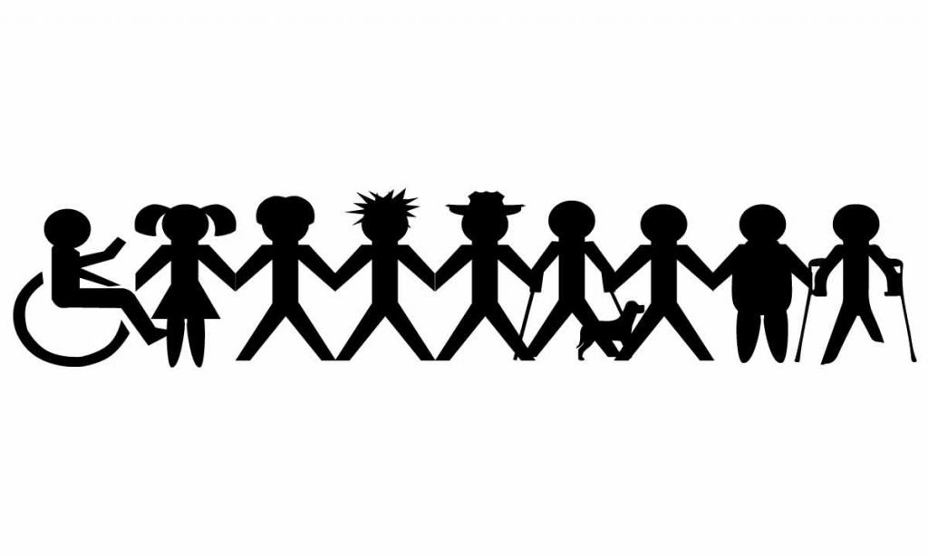 papercut illustration of Social inclusion and people in different situations