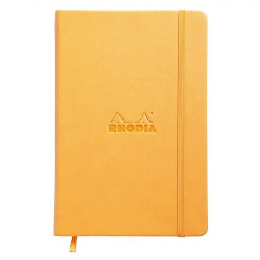 Rhodia Orange Webnotebook shown closed on white background