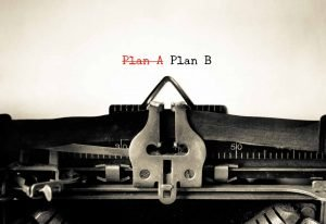 Plan A versus Plan B words typed on a vintage typewriter